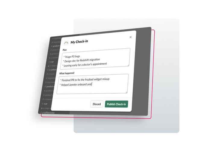 Composing a Check-in in Slack