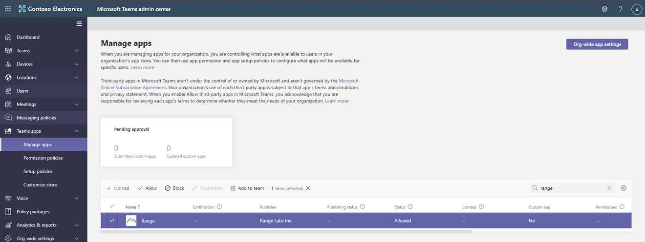 Managing the Range app for Microsoft Teams in the Teams admin center