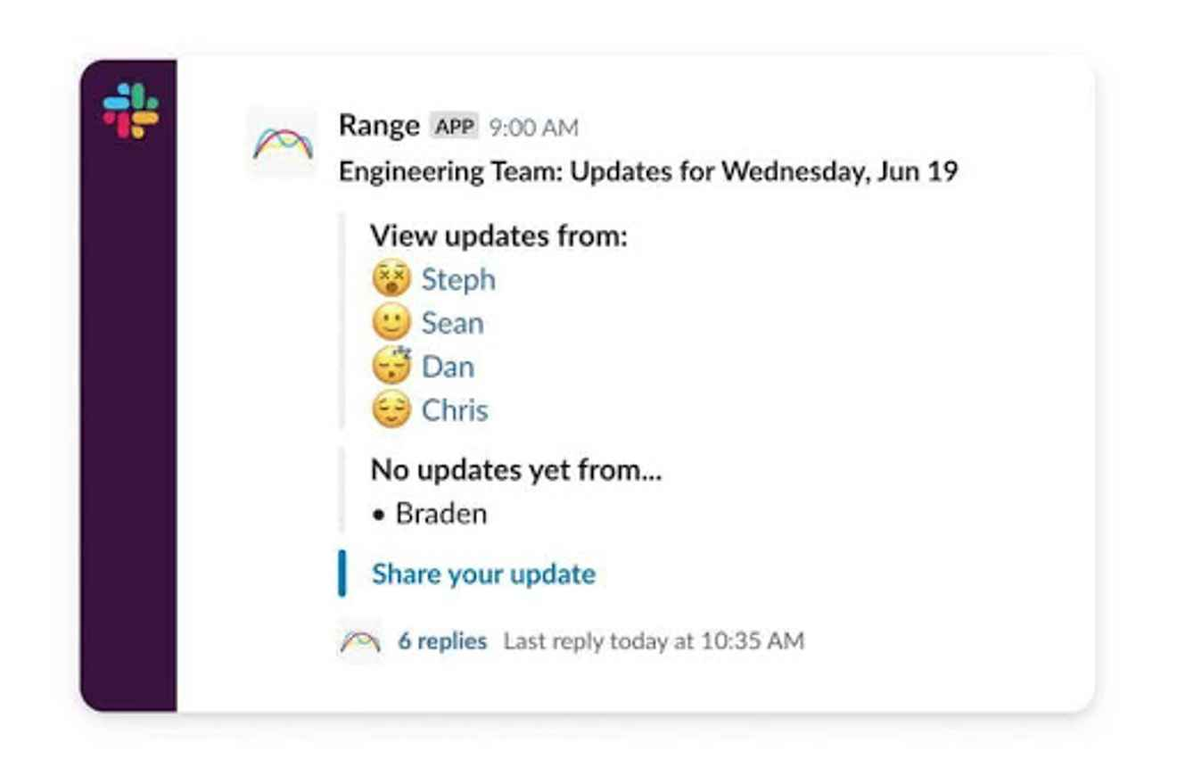 Sharing Check-ins in Range with Range for Slack
