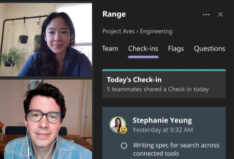 Range embedded within a Microsoft Teams video chat