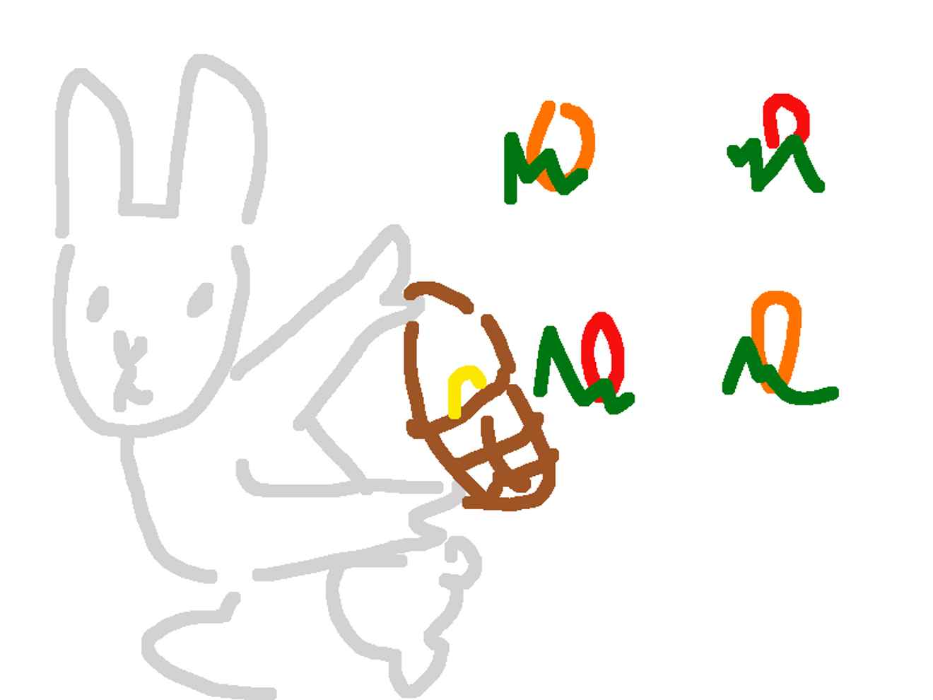 crude drawing of an easter bunny