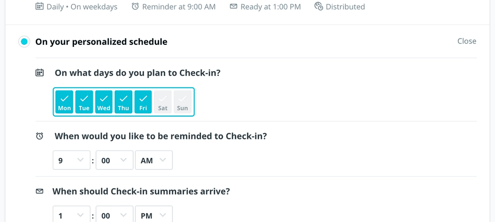 Screenshot of Check-in scheduling interface in Range