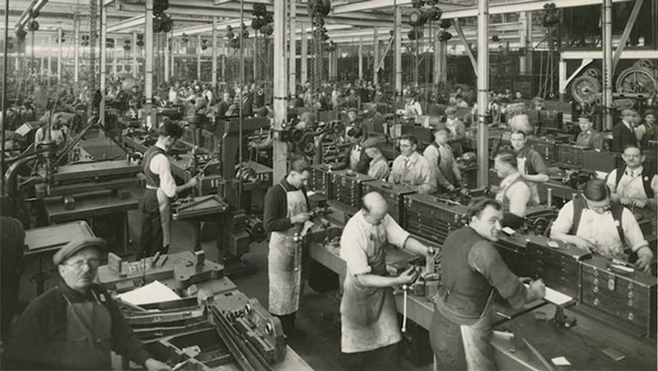 Old photo of Ford plan assembly line
