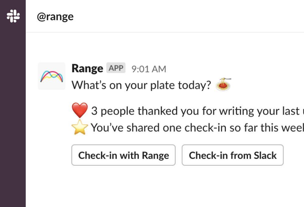 Reminder on Slack to thank