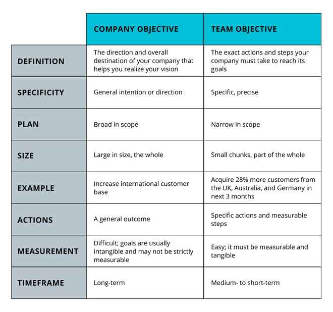 A table showing the differences between company and team objectives