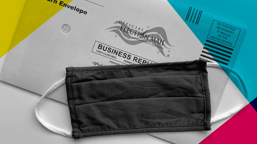 Mail in election ballot and mask