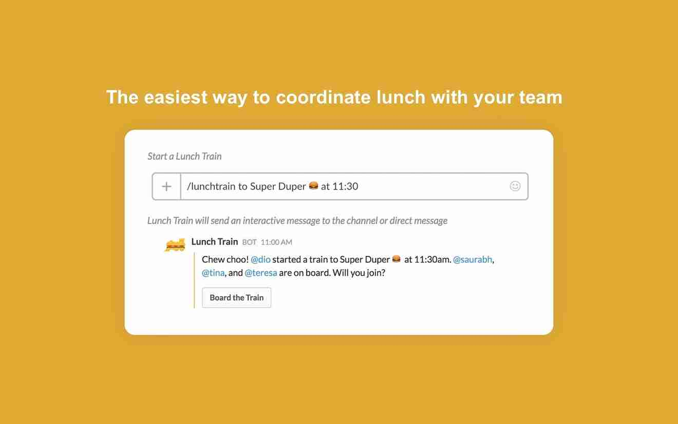 Collaboration tools for Slack – Lunch Train