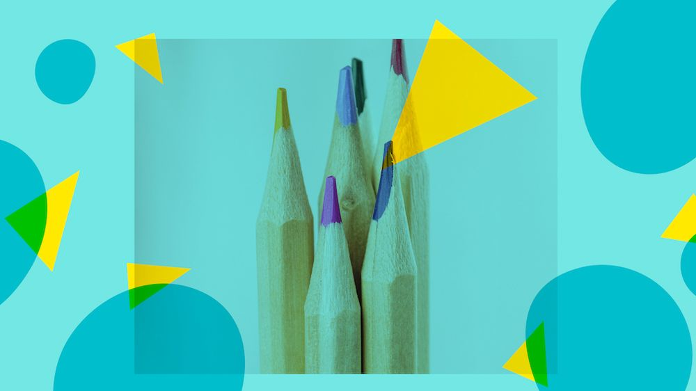 An image of six colored pencils on a light blue background with geometric overlays.