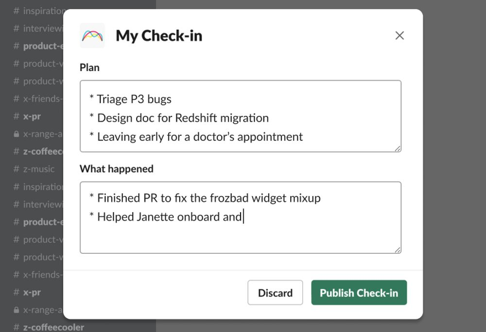 Writing a check in update on slack