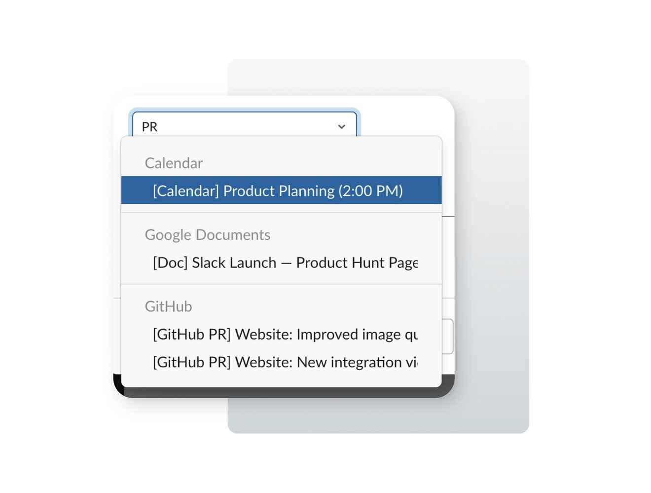 Slack UI design showing select input dropdown elements
