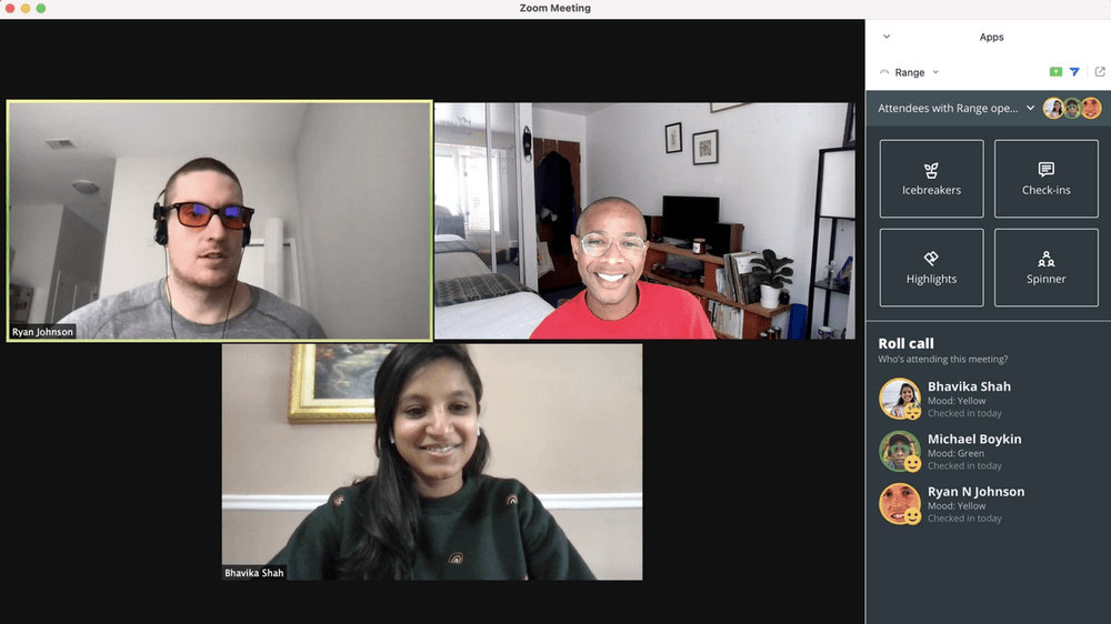 Image of Zoom meeting using Range for Zoom app