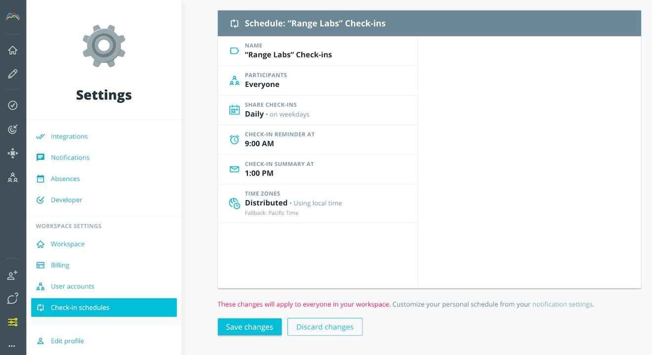 Screenshot of Check-in scheduling