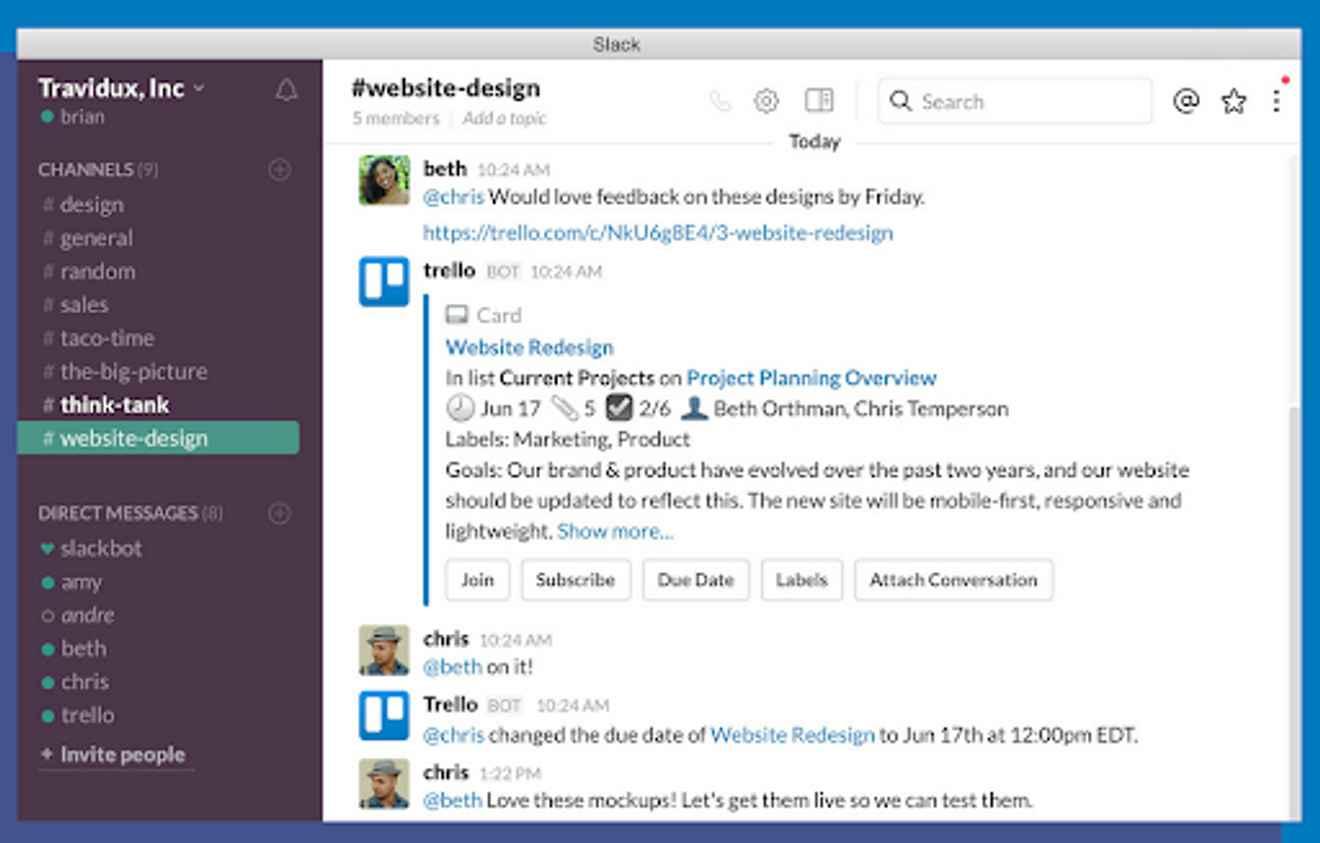 Collaboration tools for Slack – Trello