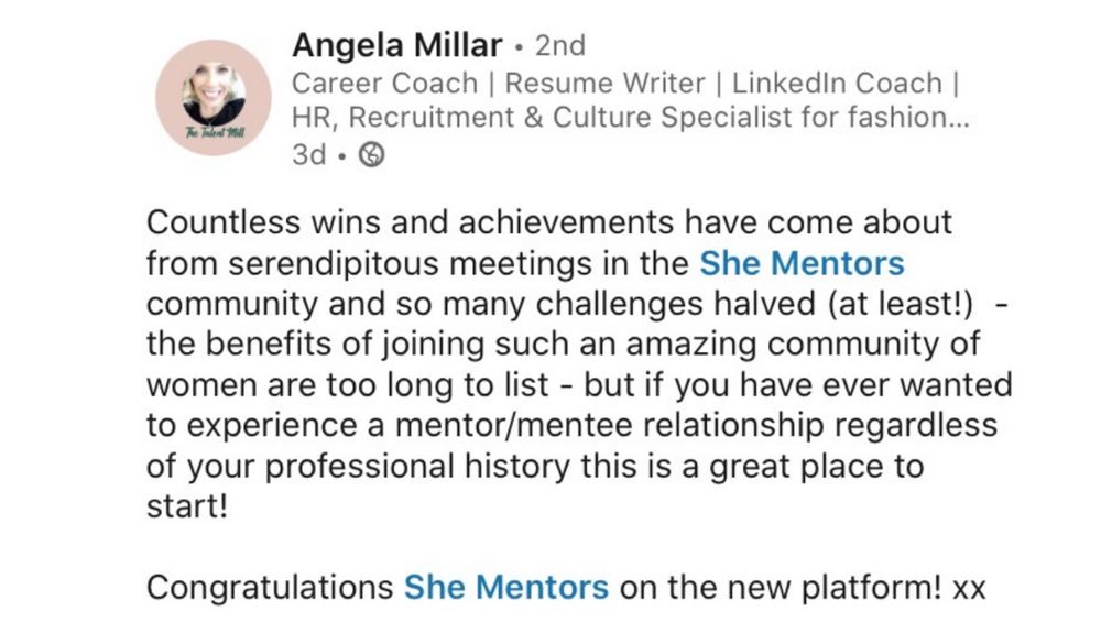 She Mentors Review & Testimonials  - The Mentor Hour - Image - Mentoring - - Angela Millar