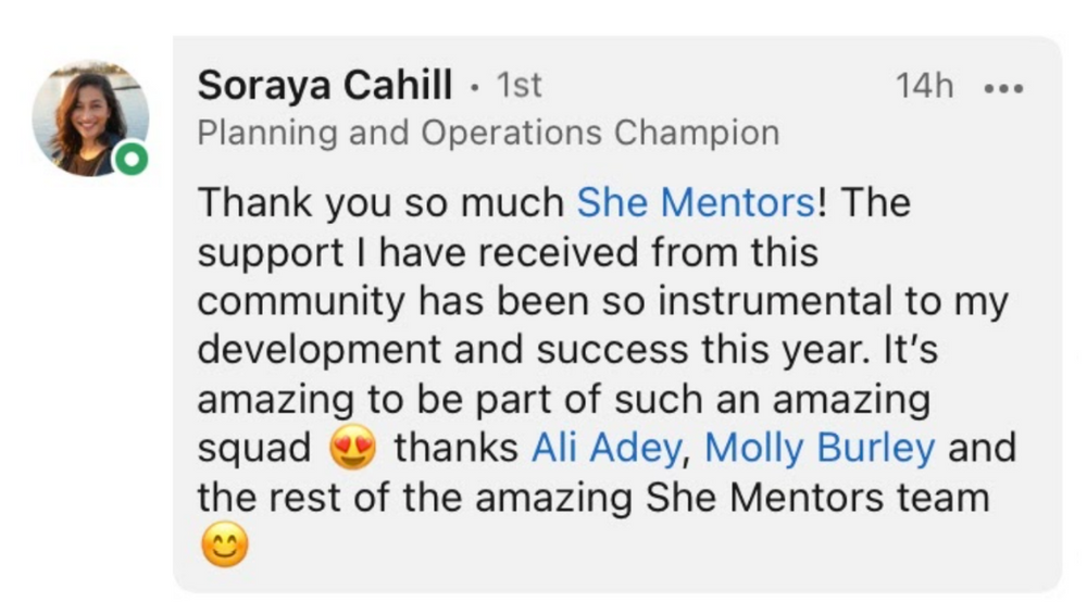 She Mentors Review & Testimonials  - The Mentor Hour - Image - Mentoring - Soraya Cahill