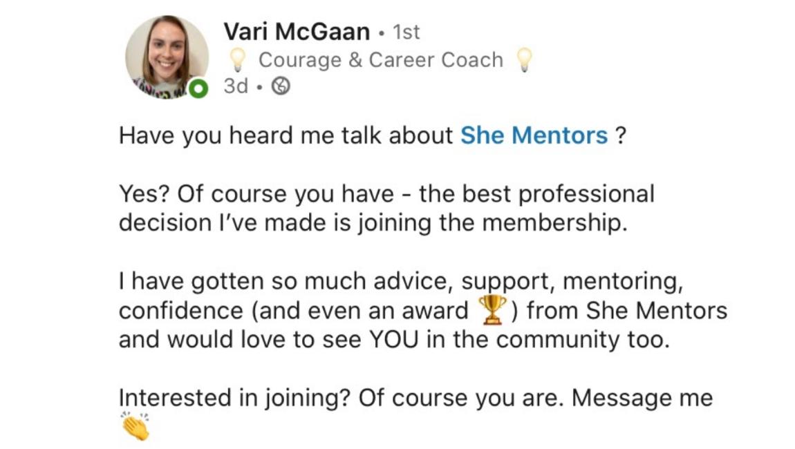 She Mentors Review & Testimonials  - The Mentor Hour - Image - Mentoring - Vari McGaan