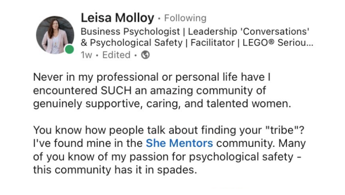 She Mentors Review & Testimonials  - Women in business community network- Image - Mentoring - Leisa Molloy