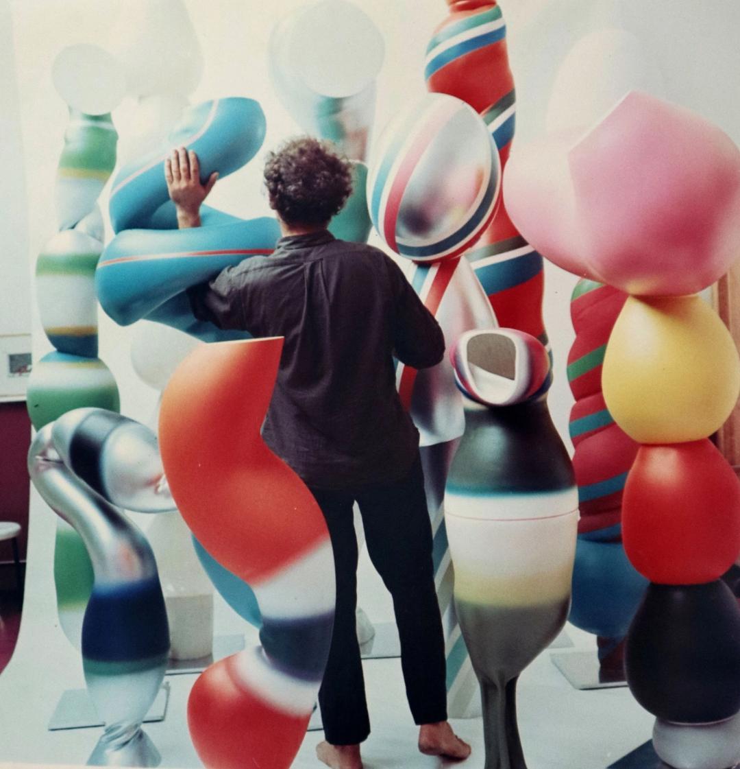 Stafan Knapp with Organic sculptures, 1965