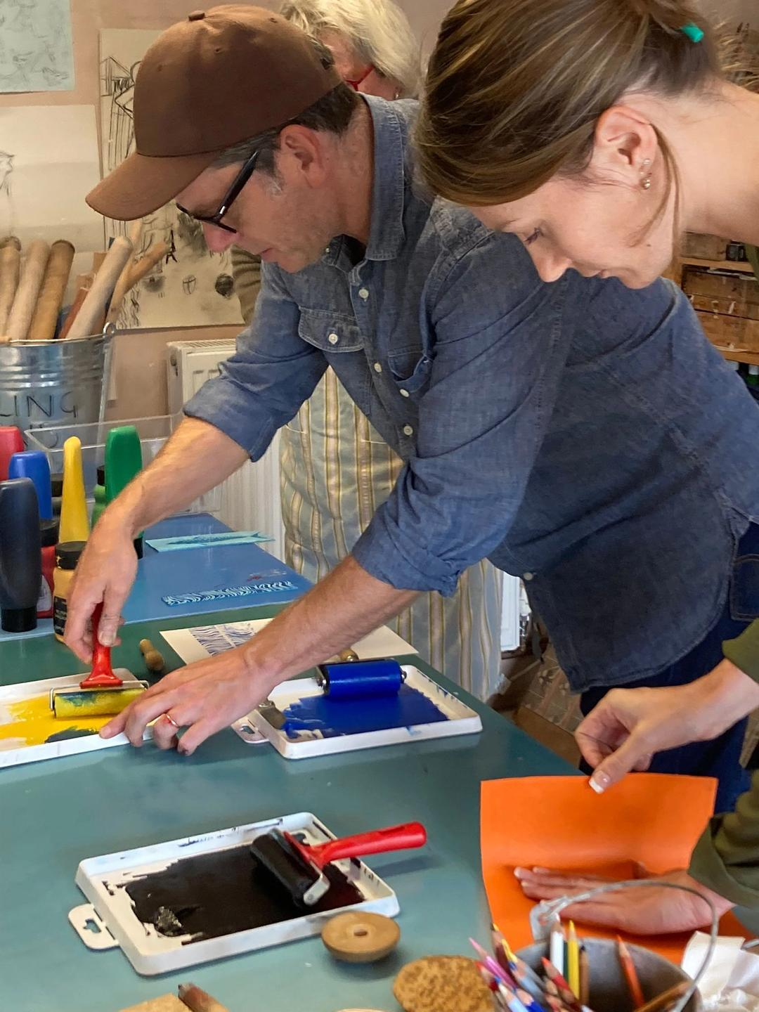 Jeb leads one of his popular lino workshops