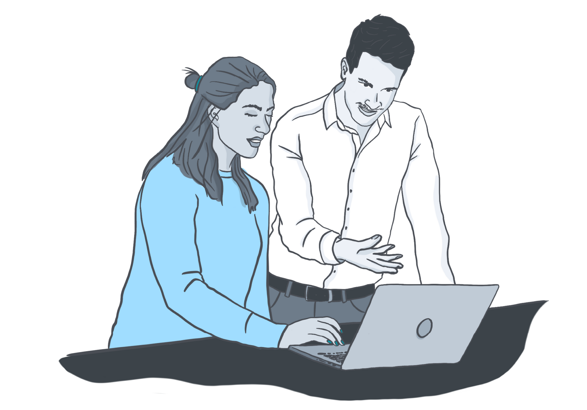 Two People Collaborating