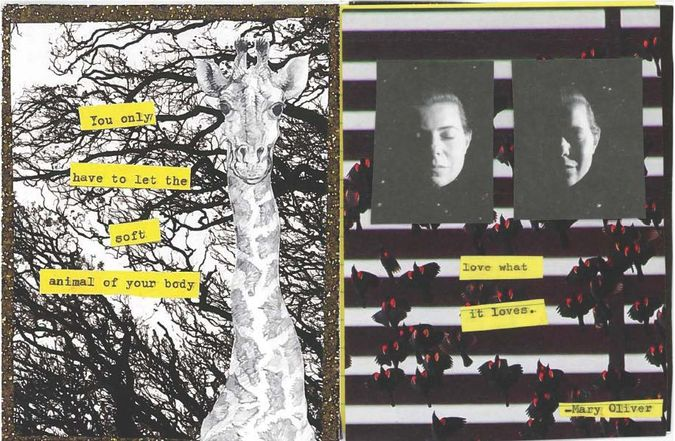 Collage with words from Mary Oliver