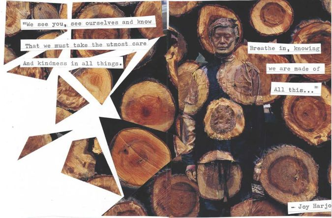 Collage with poem by Joy Harjo