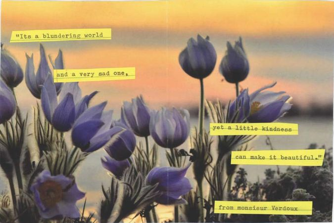 Collage with words from Monsieur Verdoux