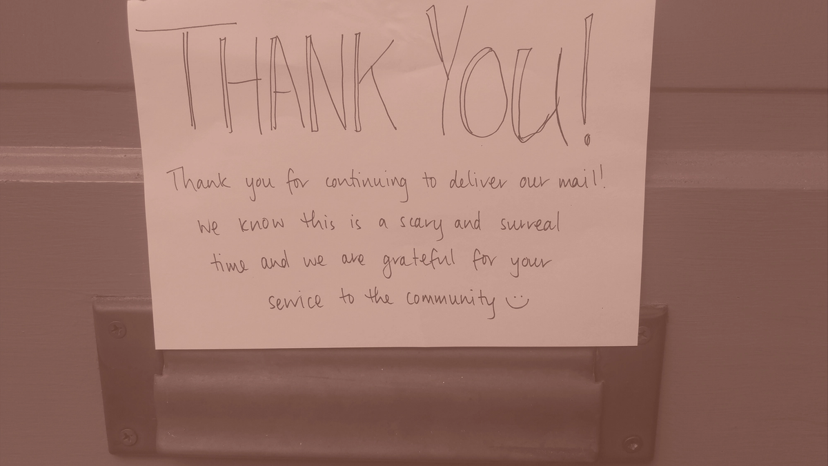 photo of a note saying: Thank You for continuing to deliver our mail!