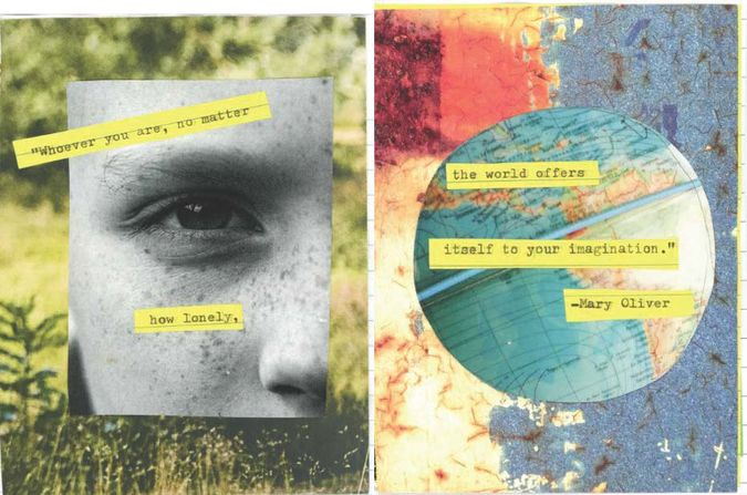 Collage with poem from Mary Oliver