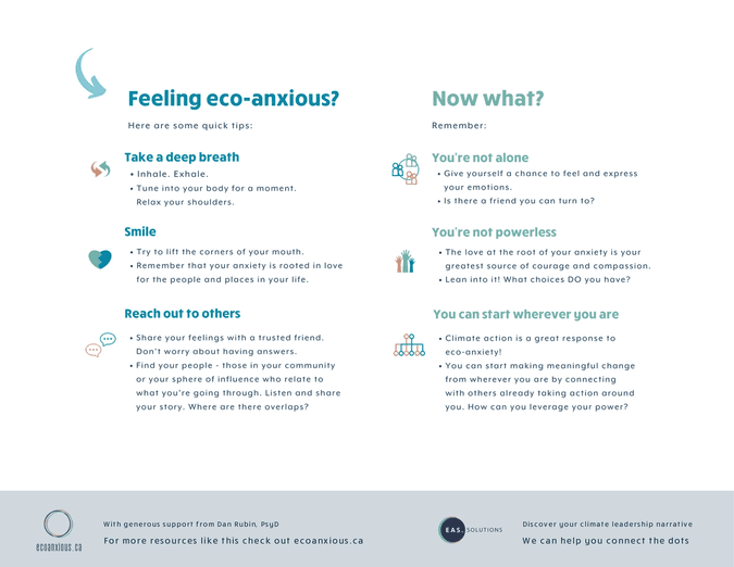 Infographic of eco-anxiety tips