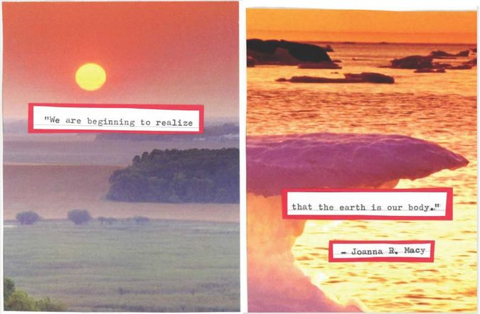 Collage with words from Joanna R. Macy