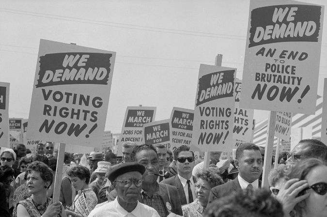 Image from the archives of the Library of Congress of a voting rights march in the United States, circa 1960s