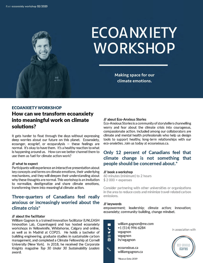 a flyer outlining the services of William Gagnon, who presents workshops about eco-anxiety in association with Eco-Anxious Stories