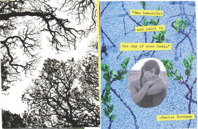 Collage with words from Denice Frohman