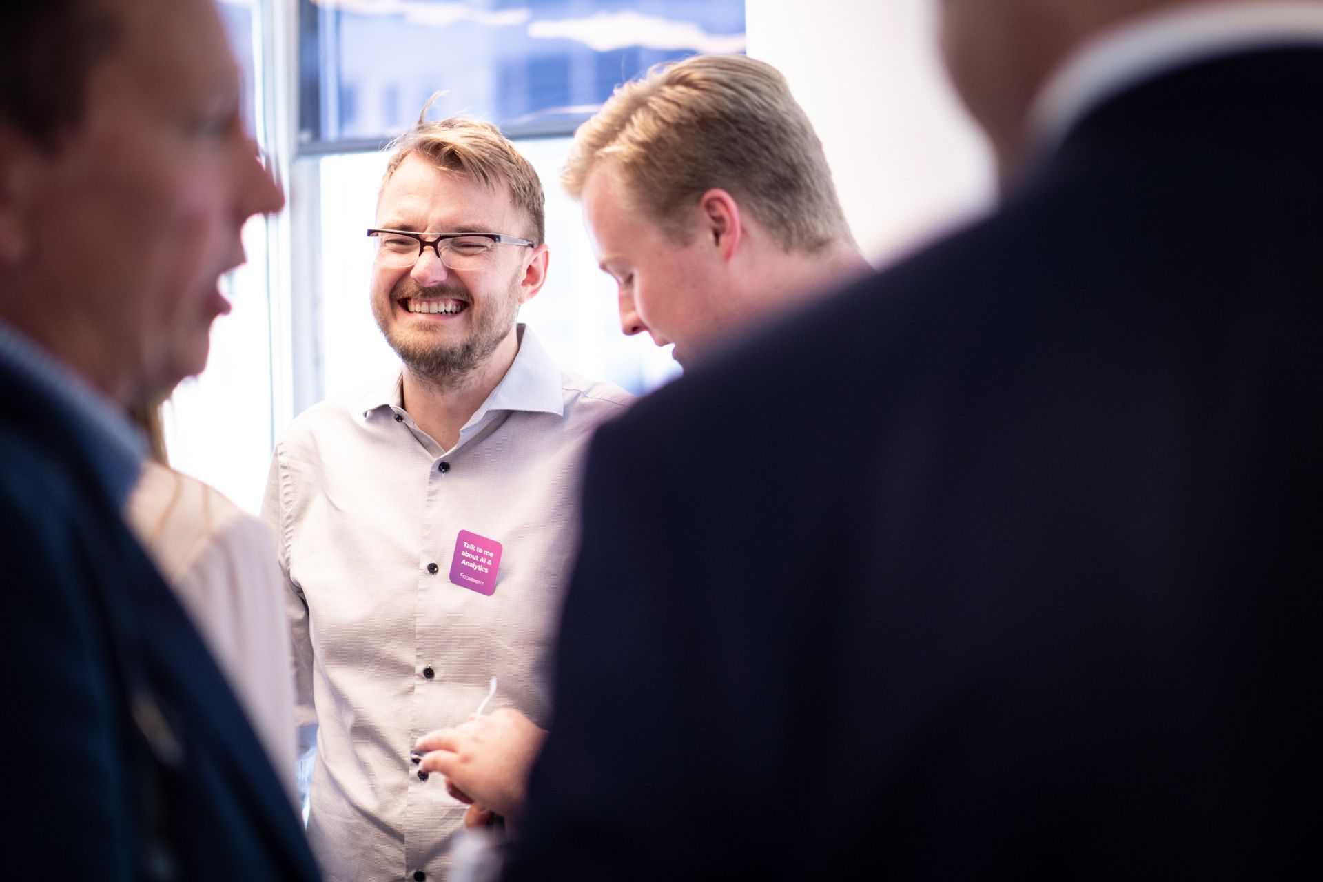 Smiling person at networking