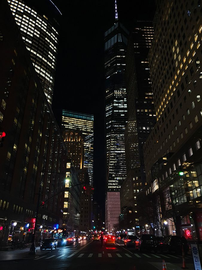 Lower Manhattan buildings by night