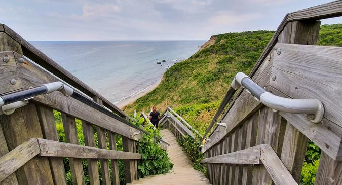Stairs to the eastern beach of Block Island
