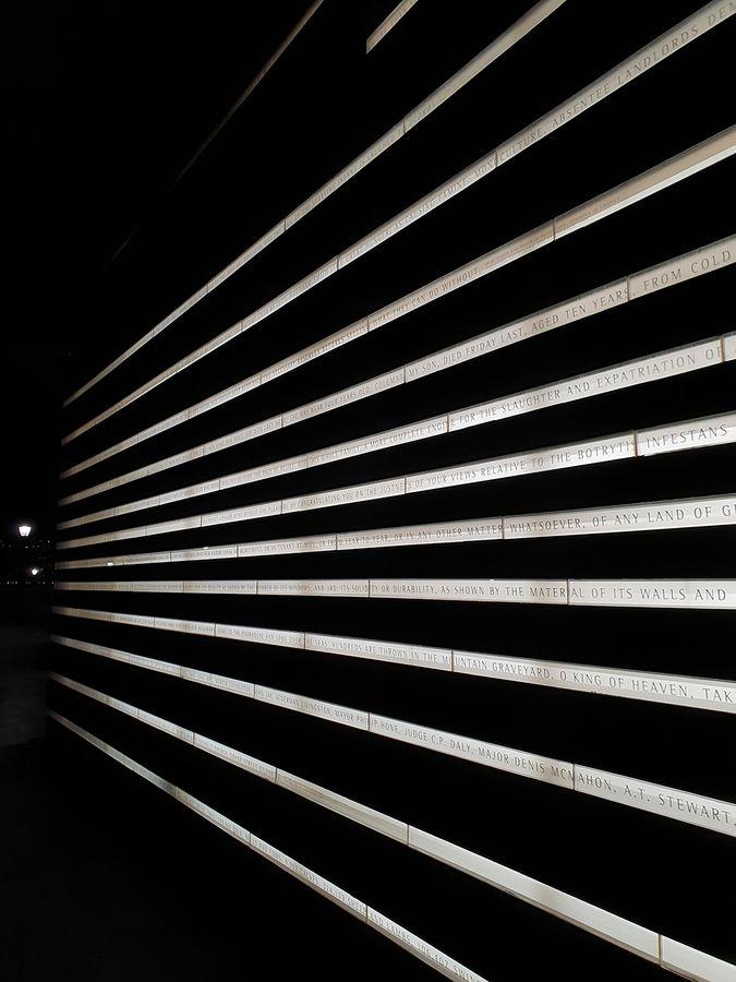 Irish Hunger Memorial by night