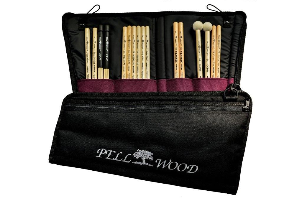 Elegant black drumstick upholstered bag with embroidered logo