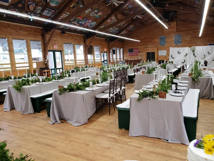 dining hall decorated during wedding