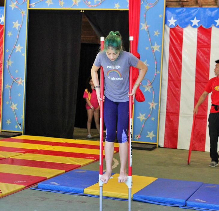 practicing skills in circus camp!