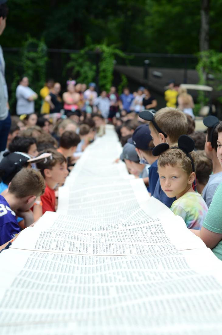 Torah scroll unrolled