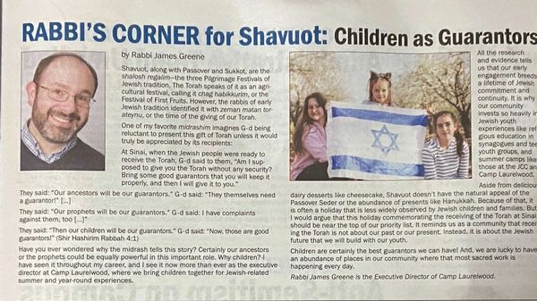 Photo of the article in Shalom New Haven