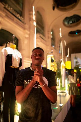 Jay1 attending TNF's Black Series launch event at Paris Fashion Week.