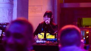 Yaeji performing at TNF's Black Series launch event at Paris Fashion Week.