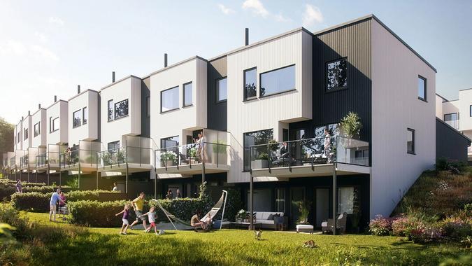 Ni romslige rekkehus som skal bygges på Hovemarka på Austrått