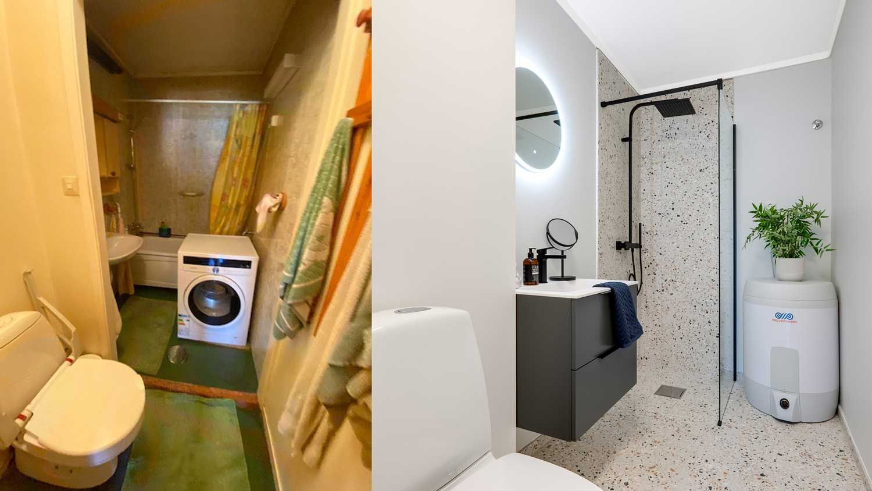 to bilder av et baderom