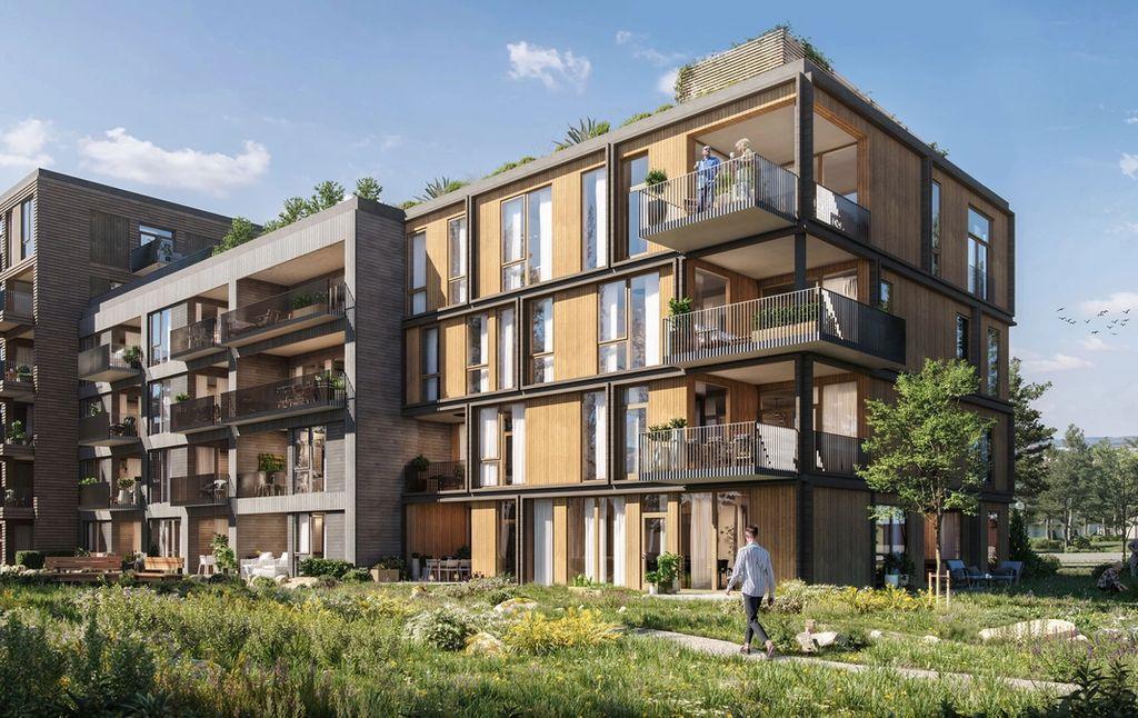 Byggetrinn 1 rommer også 35 kjekke leiligheter i et flott arkitektonisk bygg