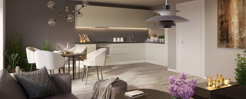 Stue og kjøkken i Møllekvartalet