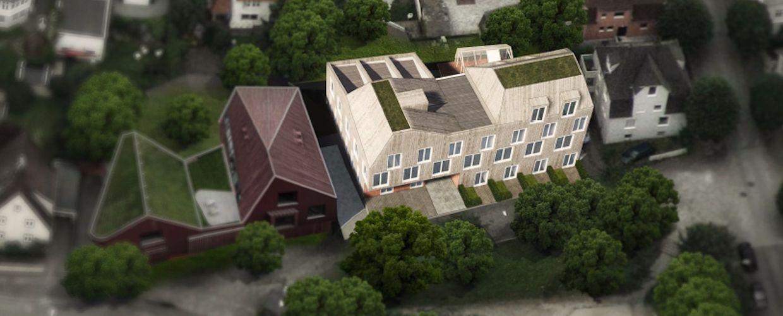Illustrasjon av byhus